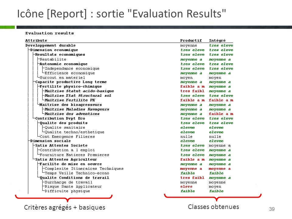 Icône [Report] : sortie Evaluation Results